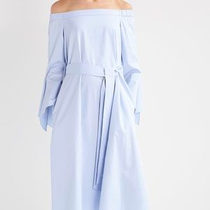 Tibi NWT morning blue off shoulder midi dress